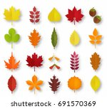 paper cut autumn leaves set.... | Shutterstock .eps vector #691570369