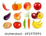 vegetables and fruits. harvest. ... | Shutterstock .eps vector #691570591