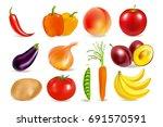 vegetables and fruits. harvest. ... | Shutterstock .eps vector #691570591