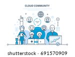 cloud community  technical... | Shutterstock .eps vector #691570909