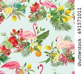 tropical fruits  flowers and... | Shutterstock .eps vector #691571011