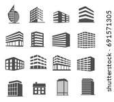 building icons set vector | Shutterstock .eps vector #691571305