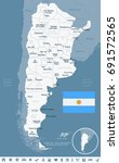argentina map and flag   vector ... | Shutterstock .eps vector #691572565