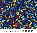 bright blue colorful hand drawn ... | Shutterstock . vector #691575259