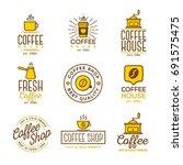 coffee shop logo set on white... | Shutterstock . vector #691575475