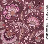 floral pattern flourish tiled... | Shutterstock .eps vector #691579231