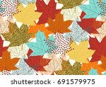 seamless pattern with fall... | Shutterstock .eps vector #691579975