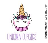 Cute Unicorn Cupcake On A Whit...