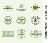 organic shop and fresh farm... | Shutterstock . vector #691583437