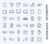 line household appliance icons. ... | Shutterstock .eps vector #691586995