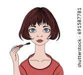cute girl paints eyelashes...   Shutterstock .eps vector #691587781