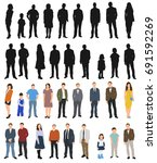 vector isolated silhouettes of... | Shutterstock .eps vector #691592269