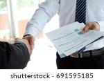 job applicant having interview. ... | Shutterstock . vector #691595185