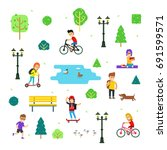 people and children in the park ... | Shutterstock .eps vector #691599571