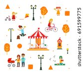 people and children in the... | Shutterstock .eps vector #691599775