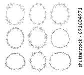 set of 9 black doodle hand... | Shutterstock . vector #691604971