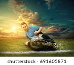 soccer players on the field | Shutterstock . vector #691605871