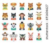 hipster animal set | Shutterstock .eps vector #691606627