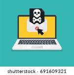 concept of virus  piracy ... | Shutterstock .eps vector #691609321