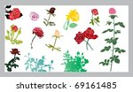set of roses silhouettes | Shutterstock .eps vector #69161485