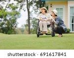 elderly woman relax on... | Shutterstock . vector #691617841