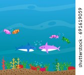 sea creatures living together... | Shutterstock .eps vector #691619059