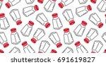 pepper salt sugar bottle shaker ... | Shutterstock .eps vector #691619827