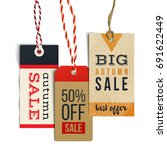 3 autumn sale tags in vintage... | Shutterstock .eps vector #691622449