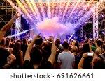 fire show  fireworks. rear view ...   Shutterstock . vector #691626661