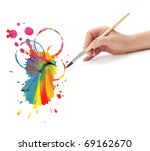 Hand With Artist Brush And...