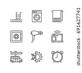 outline icons about hotel... | Shutterstock .eps vector #691627741