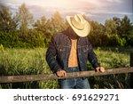 portrait of sexy farmer or... | Shutterstock . vector #691629271