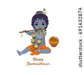 krishna janmashtami greeting... | Shutterstock .eps vector #691632874