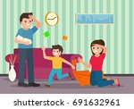 tired parents with children at... | Shutterstock .eps vector #691632961