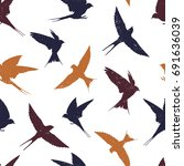 seamless pattern with swallows... | Shutterstock .eps vector #691636039