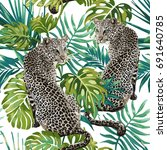seamless pattern of leopard and ... | Shutterstock .eps vector #691640785
