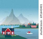 norwegian landscape panorama.... | Shutterstock .eps vector #691643401