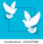 two white dove fly on blue... | Shutterstock .eps vector #691647085