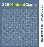 set of 225 minimal modern black ... | Shutterstock .eps vector #691647124