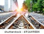 railroad tracks  railway  track ... | Shutterstock . vector #691649884