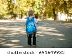 alone pupil of primary school... | Shutterstock . vector #691649935