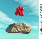 red balloons lift a big stone   ... | Shutterstock . vector #691651021