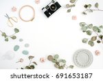 flat lay border frame with... | Shutterstock . vector #691653187