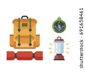 vector hiking and camping... | Shutterstock .eps vector #691658461