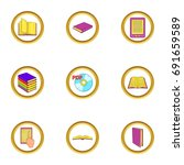 ebook icons set. cartoon set of ...