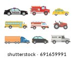 city cars set. police and... | Shutterstock .eps vector #691659991