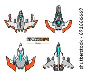 spaceships  aircraft design... | Shutterstock .eps vector #691666669