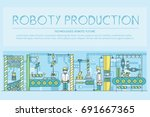 people working on robots... | Shutterstock .eps vector #691667365