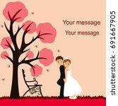 Bride And Groom. Wedding Card...