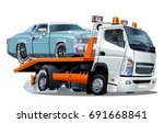 cartoon tow truck isolated on... | Shutterstock .eps vector #691668841